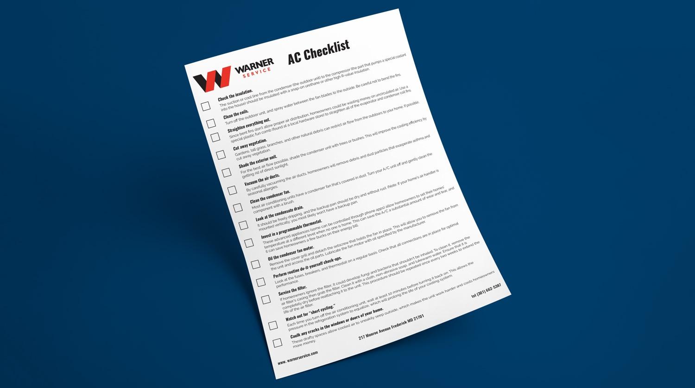 Warner Service Air Conditioning Checklist